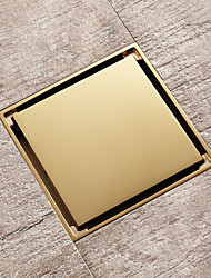 cheap -Brass Floor Mounted Drain Chrome\antique\Black\Brushed\ Brushed Gold\ Champagne Gold\Rose Gold Color Brass 4inch Tile Insert Floor mounted 10cm*10cm