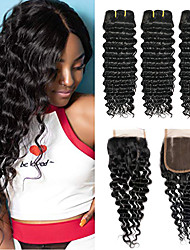abordables -3 paquets avec fermeture Cheveux Péruviens Bouclé Ondulation profonde Cheveux Vierges Naturel Paquets de 100% Remy Hair Weave Tissages de cheveux humains Bundle cheveux Extensions Naturelles 8-24