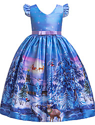 cheap -Kids Girls' Active Sweet Snowflake Christmas Print Short Sleeve Midi Dress Blue