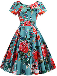 cheap -Women's Elegant Sheath Dress - Floral Light Green S M L XL