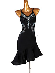 cheap -Latin Dance Dresses Women's Training Spandex Ruffles / Crystals / Rhinestones Sleeveless High Dress