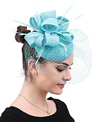 cheap -Ostrich Fur / Linen / Cotton Blend / Straw Headbands / Fascinators / Hair Accessory with Feather / Floral / Flower 1 PC Party / Evening / Belmont Stakes Headpiece