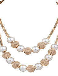 cheap -Women's Pearl Necklace Classic Weave Fashion Chrome Gold 45+5 cm Necklace Jewelry 1pc For Holiday