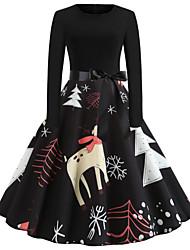 cheap -Women's Elegant Sheath Dress - Floral Black S M L XL
