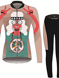 cheap -21Grams Peace & Love Women's Long Sleeve Cycling Jersey with Tights - Brown+Gray Bike Clothing Suit Thermal / Warm Breathable Quick Dry Sports Winter Fleece Terylene Polyester Taffeta Mountain Bike