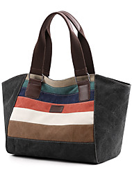 cheap -Women's Canvas Tote Striped Orange