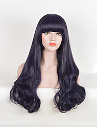 cheap -Synthetic Wig Straight Rihanna Neat Bang Wig Long Black / Purple Synthetic Hair 26 inch Women's Heat Resistant Party Synthetic Purple