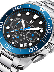 cheap -Men's Steel Band Watches Quartz Formal Style Stylish Stainless Steel Silver 30 m Calendar / date / day Chronograph Noctilucent Analog Luxury - Black Black / Yellow Blue One Year Battery Life