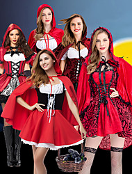 cheap -Fairytale Little Red Riding Hood Dress Cosplay Costume Cloak Party Costume Adults' Women's Christmas Halloween Carnival Festival / Holiday Polyester Light Red / Dark Red / White+Red Women's Female
