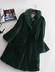 cheap -Women's Daily Basic Fall & Winter Long Faux Fur Coat, Solid Colored Turndown Long Sleeve Faux Fur White / Blushing Pink / Green