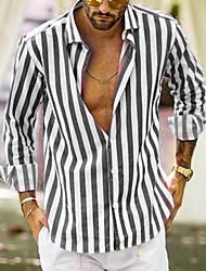 cheap -Men's Plus Size Striped Shirt Daily Black / Blue / Yellow / Gray / Long Sleeve