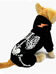 cheap -Dog Halloween Costumes Jumpsuit Skull Holiday Halloween Winter Dog Clothes Warm Black Red Costume Polyster XS S M L XL