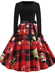 cheap -Women's Santa Claus Swing Dress - Long Sleeve Geometric Patchwork Print Basic Vintage Christmas Party Festival Red S M L XL XXL