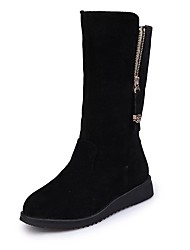 cheap -Women's Boots Wedge Heel Round Toe Microfiber Mid-Calf Boots Fall & Winter Black / Gray