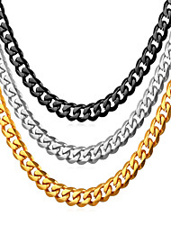 cheap -Men's Chain Necklace Necklace Simple Fashion Titanium Steel Black Gold Silver 55 cm Necklace Jewelry 1pc For Graduation Gift Daily School