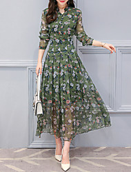 cheap -Women's Festival Elegant Chiffon Dress - Floral Print Blue Green M L XL XXL