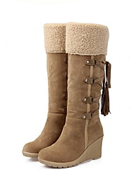 cheap -Women's Boots Wedge Heel Round Toe PU Mid-Calf Boots Fall & Winter Yellow / Black / Beige