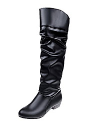 cheap -Women's Boots Knee High Boots Low Heel Round Toe Synthetics Knee High Boots Fall & Winter Black / White / Khaki