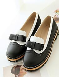 cheap -Women's Flats Flat Heel Round Toe Bowknot PU Summer Black / Blue / Pink