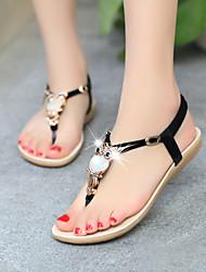 cheap -Women's Sandals Flat Heel Open Toe Synthetics Summer Black / Dark Red / Light Blue