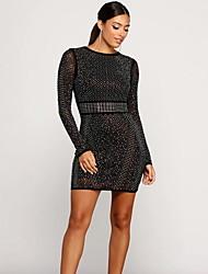 cheap -Women's Mini Bodycon Dress - Long Sleeve Geometric Basic Slim Wine Black Blue S M L XL