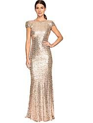 cheap -Women's Sheath Dress - Solid Colored Maxi Sequins Light Blue Gold S M L XL