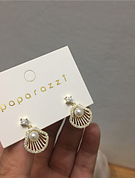 cheap -Women's Earrings Vintage Style Shell Imitation Diamond S925 Sterling Silver Earrings Jewelry Gold For Gift Daily Festival 1 Pair