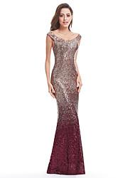 cheap -Mermaid / Trumpet Scoop Neck Floor Length Sequined Elegant Prom Dress with Sequin 2020