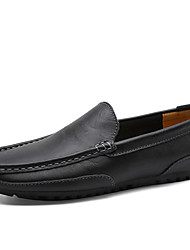cheap -Men's Moccasin Leather Spring & Summer / Fall & Winter Sporty / Casual Loafers & Slip-Ons Running Shoes / Walking Shoes Warm Black / Yellow / Blue