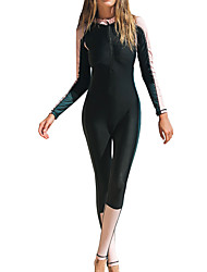 cheap -SBART Women's One Piece Swimsuit Bodysuit Breathable Quick Dry Full Body Front Zip - Swimming Surfing Snorkeling Patchwork Autumn / Fall Spring Summer / Micro-elastic