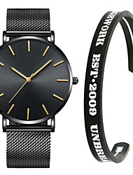 cheap -Men's Steel Band Watches Quartz Minimalist Chronograph Analog Black / Blue Rose Gold Black / Rose Gold / One Year / Stainless Steel / Stopwatch