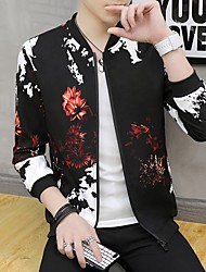cheap -Men's Daily Fall & Winter Regular Jacket, Geometric Stand Long Sleeve Polyester Black / Wine / White