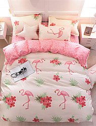cheap -Flamingo Pink Bedding Sets Duvet Cover Sets Contemporary Polyster Printed 4 PieceBedding Sets