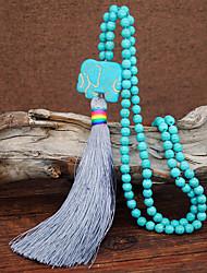 Недорогие -Жен. Зеленый Ожерелья с подвесками Цепочка длинное ожерелье С кисточками Слон Плетение Винтаж модный Этнический Мода Камень Бирюзовый 88 cm Ожерелье Бижутерия 1шт Назначение / Ожерелье из бисера