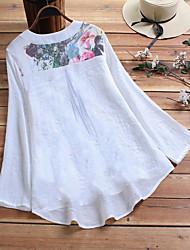 Недорогие -Жен. Большие размеры Цветочный принт С принтом Свободный силуэт Рубашка Элегантный стиль Шинуазери (китайский стиль) V-образный вырез Белый / Лиловый / Бежевый