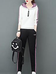 abordables -Femme Chic de Rue Set - Bloc de Couleur, Imprimé Pantalon Col en V