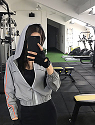 cheap -Women's Track Jacket Running Jacket High Neck Running Gym Workout Breathable Quick Dry Soft Sportswear Stripes Hoodie Top Activewear Stretchy / Sweat-wicking