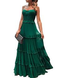 Недорогие -Жен. Элегантный стиль А-силуэт Платье - Однотонный, Пайетки На бретелях Макси