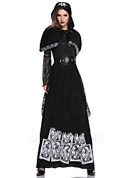 cheap -Witch Cosplay Costume Outfits Adults' Women's Cosplay Halloween Halloween Festival / Holiday Tulle Polyster Black Women's Carnival Costumes / Dress / Shawl / Belt