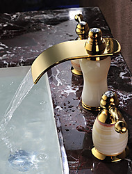 cheap -Bathroom Sink Faucet - Waterfall Ti-PVD Widespread Two Handles Three HolesBath Taps / Brass