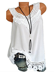 cheap -Women's Daily Basic Plus Size Loose Tank Top - Geometric / Solid Colored Lace Wine / Summer