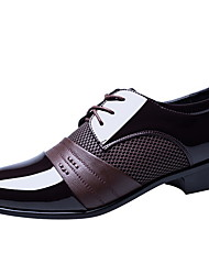 cheap -Men's Leather Shoes Patent Leather Summer Oxfords Black / Brown