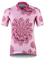 abordables -21Grams 3D Floral Botanique Femme Manches Courtes Maillot Velo Cyclisme - Rose Vélo Maillot Hauts / Top Respirable Evacuation de l'humidité Séchage rapide Des sports 100 % Polyester VTT Vélo tout