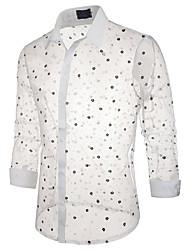 cheap -Men's Beach Basic / Sexy EU / US Size Shirt - Geometric Daisy, Lace Classic Collar Black / Long Sleeve