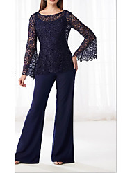 cheap -Pantsuit / Jumpsuit Bateau Neck Floor Length Chiffon / Lace Long Sleeve Plus Size / Elegant Mother of the Bride Dress with Appliques / Buttons 2020