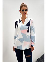 cheap -Women's Daily Shirt - Geometric V Neck White