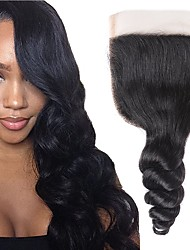 cheap -Fulgent  Sun Peruvian Hair 4x4 Closure Wavy Free Part Swiss Lace Human Hair Women's Lace Closure Christmas / Christmas Gifts / Wedding