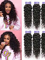 cheap -6 Bundles Brazilian Hair Water Wave Remy Human Hair 100% Remy Hair Weave Bundles Headpiece Natural Color Hair Weaves / Hair Bulk Bundle Hair 8-28 inch Natural Natural Color Human Hair Weaves Newborn