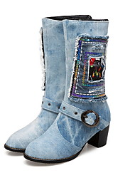 cheap -Women's Boots Chunky Heel Round Toe Denim Mid-Calf Boots Fall & Winter Dark Blue / Light Blue