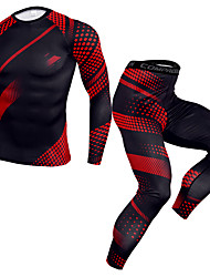 cheap -JACK CORDEE Men's Long Sleeve Cycling Jersey with Tights Compression Suit Winter Fleece Elastane Black / Red Plaid / Checkered Stripes Bike Clothing Suit Thermal / Warm Breathable Quick Dry